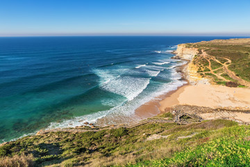 Seascape Ericeira Portugal. From surfers in the water.
