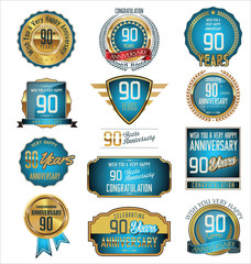 Anniversary retro badges and labels collection, 90 years