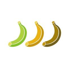 Icono Fruta_Plátano verde, maduro y pasado COLOR