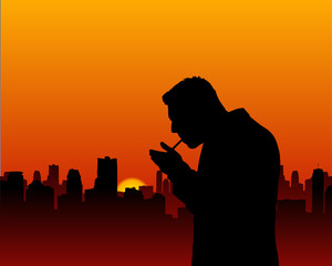 Lighting a Cigarette Sunset Silhouette