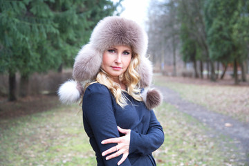 girl in a fur hat