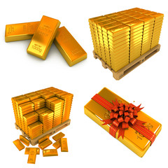 Set of Gold Bars on the White Background.