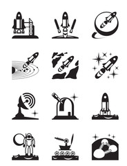Aerospace mission set of icons - vector illustration