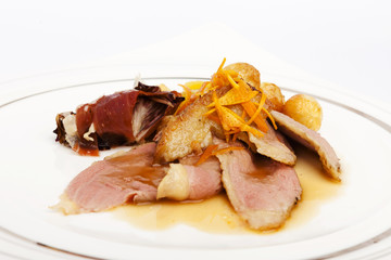 DUCK BREAST WITH ORANGE recipe on a white background.