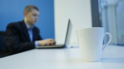 Cup on the desktop