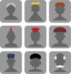 Hairstyle Men - Web Icon Set