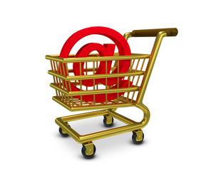Einkaufswagen At Zeichen Gold