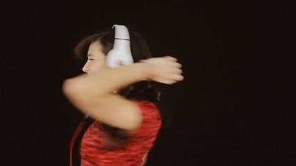 Music woman headphones black frantic
