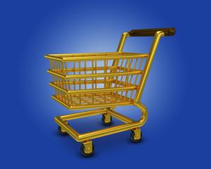 Einkaufswagen Gold Hintergrund