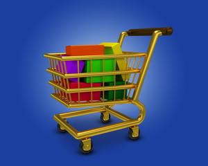 Einkaufswagen voll Gold Webshop