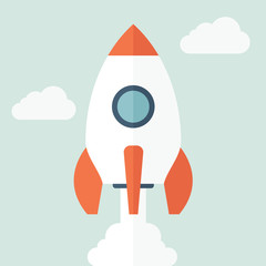 Rocket Icon in Flat Style.