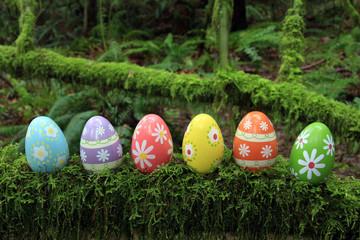 Colorful Easter eggs outside.
