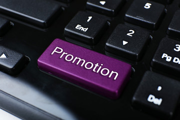 Close up of Promotion keyboard button