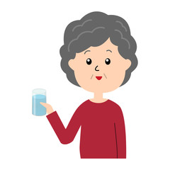 A happy elderly woman with a glass of water in her hand