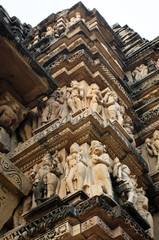 Stone carved erotic bas relief in Hindu temple in Khajuraho