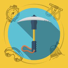 Flat design vector illustration for rock climbing. Ice axe