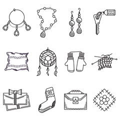 Black line icons collection for handmade items