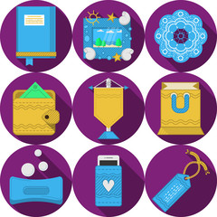 Flat purple icons for handmade gifts