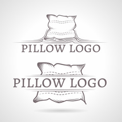 Abstract illustration of pillow icon with text