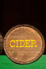 A cider barrel in local farmers market, Washington state