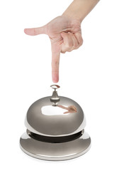 Female Finger Ringing Service Bell with Reflection