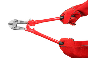 Hands holding pliers isolated on white