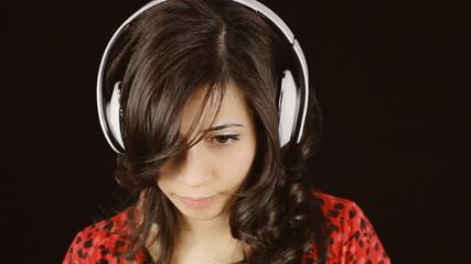 Music woman headphones black sad