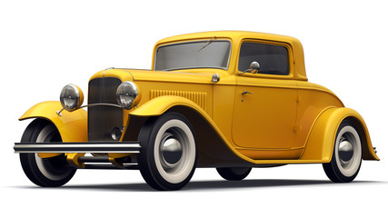 Vintage Yellow Car - Perspective View.