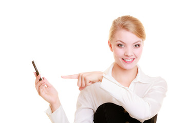 Communication. Businesswoman rejecting call