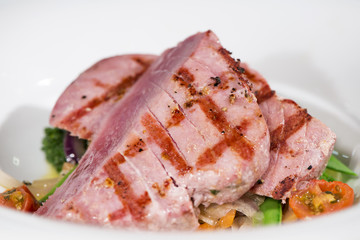 Fish - Grilled Yellowfin Tuna Steaks On Vegetable Bed