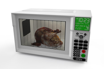 Microwave oven  with  chicken 1
