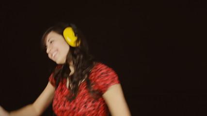 Music woman headphones black shaking