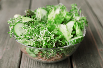 Cress salad with sliced cucumber and greens in glass bowl