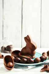 Chocolate Easter eggs and rabbit
