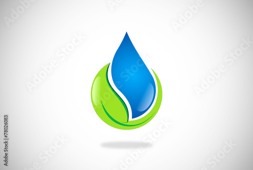 water and leaf natural vector logo - 78026083