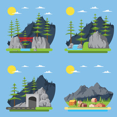Flat design of countryside forest