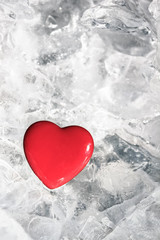 Red heart on ice
