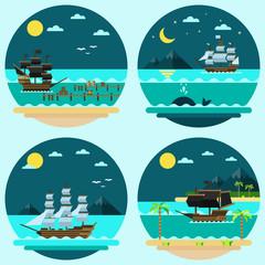 Flat design of pirate ships sailing