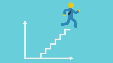 Running man climb to business success