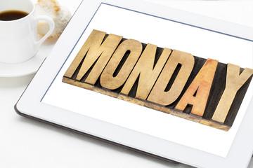 Monday on digital tablet
