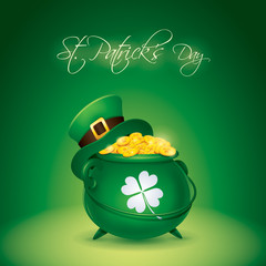 St Patricks Day symbol. Leprechaun hat and pot of gold