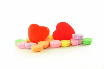 heart shape candy for love showing in white background