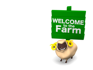 Sheep And Signboard On White Text Space