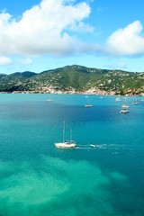 Sailboats anchored in a bay in St. Thomas, US Virgin Islands
