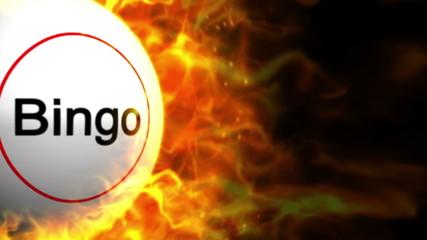 Bingo Ball and Flames Background