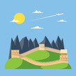 Flat design great wall of China - 78028415