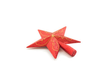 Red star christmas decoration. Isolated on a white background