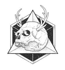 Abstract Hipster Skull Art