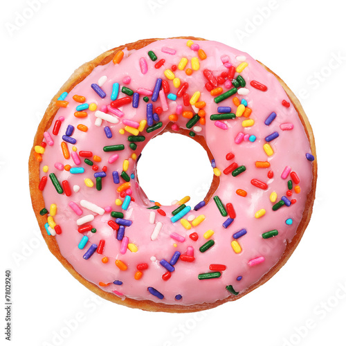 Leinwandbild Motiv Donut with sprinkles isolated