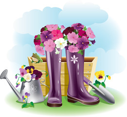 Gumboots and flowers